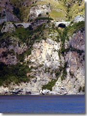 The cliff-hugging road of the Amalfi Coast Drive