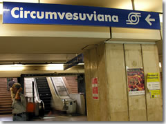 Follow signs for the Circumvesuviana underneath Naples' train station