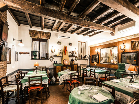 One Of The Dining Rooms At Al 34 Restaurant In Rome Italy