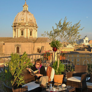 The view from a balcony at the Hotel Campo de' Fiori in Rome