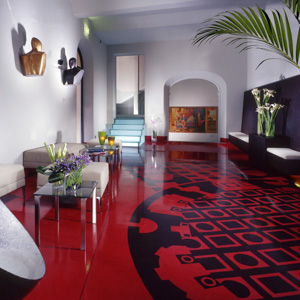 The lobby of the Hotel Art by the Spanish Steps in Rome, Italy