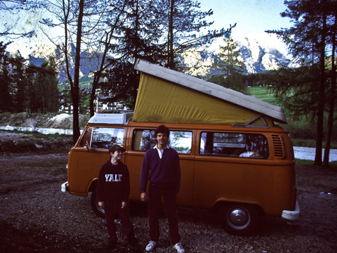 Our hippie-orange VW campervan took my family (the author, left age 12, his Uncle Marc, right age 19) everywhere in Europe. This campground is by a mountain stream high in the Italian Dolomites. (Photo by Frank Bramblett)