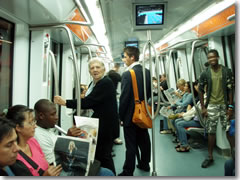The modern interior of the Rome subway