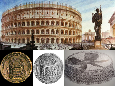 Images of the Colosseum showing the roof and the Colossus of Nero