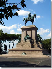 the statue of Giuseppe Garibaldi atop the Janiculum Hill