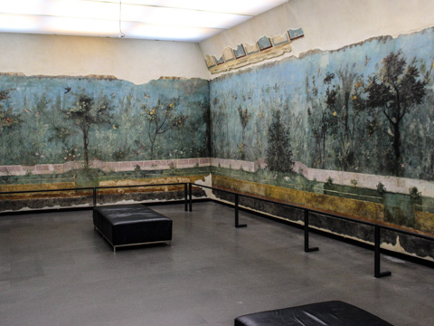 The frescoed walls of the dining room from the Villa of Livia