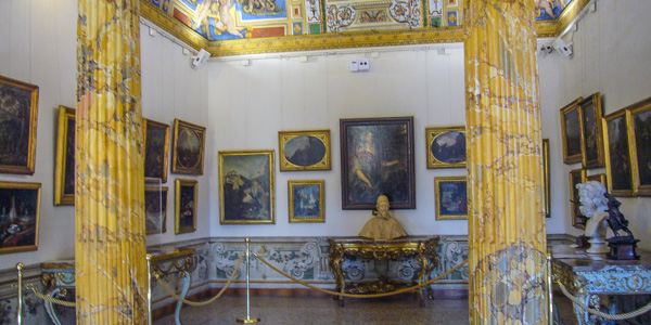 This gallery room at the Palazzo Corsini was once the bedroom of Queen Cristina of Sweden, who abdicated her throne, converted to Catholocism, and lived in Rome—on and off—from 1654 until her death 1689
