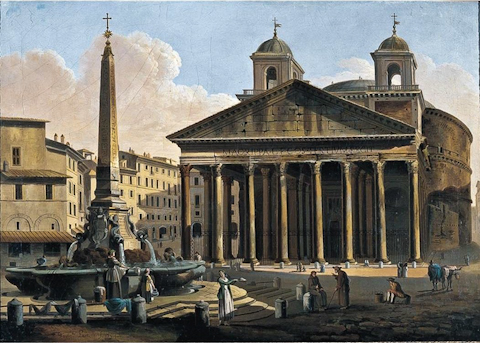 The Pantheon in 1794, complete with the ill-advised 'ass-ears of Bernini' towers, in a painting by Ferdinando Partini