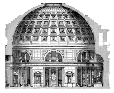 A cross-section image of the Pantheon in Rome
