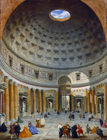 The interior of the Pantheon as it appeared in 1734 in a painting by Giovanni Paolo Pannini