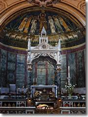The Arnolfo di Cambio ciborium and apse mosaics in Rome's church of Santa Cecilia in Trastevere. (Photo by Mari27454) http://commons.wikimedia.org/wiki/File:Santa_Cecilia_in_Trastevere_altare_.jpg
