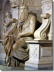 The statue of Moses by Michelangelo on the Tomb of Pope Julius II in Rome's church of San Pietro in Vincoli