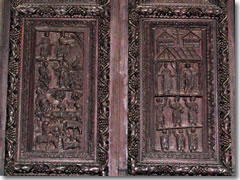 A detail of the 5th century carved wooden doors on Rome's church of Santa Sabina