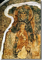 A fresco of the 6th century in the Lower Church, showing either a Madonna and Child or the Empress Theodora.