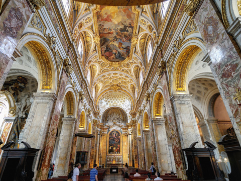 The baroque interior of the church of San Luigi dei Francesi, Rome
