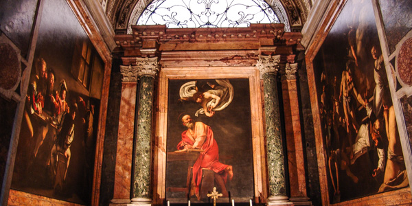 The Contarelli Chapel, with Caravaggio's St. Michael cycle, in the church of San Luigi dei Francesi, Rome