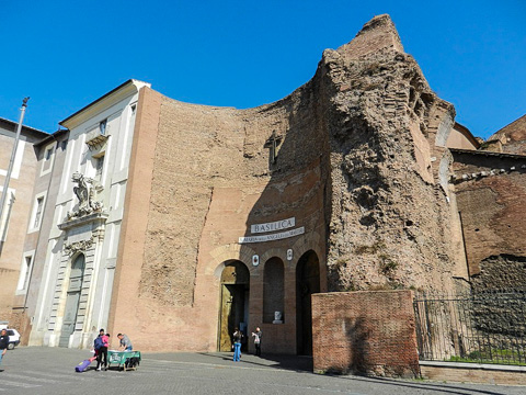 The entrance the church of  Santa Maria degli Angeli e dei Martiri, Rome, is a niche from the Terme di Diocleziano