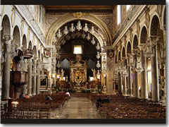 The interior of Rome's church of Santa Maria in Aracoeli on the Captoline Hill