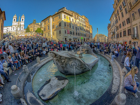 La Barcaccia (the Ugly Boat) fountain on Piazza di Spagna at the foot of the Spanish Steps in Rome
