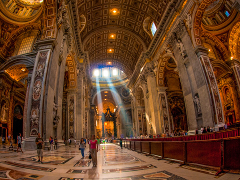 The nave of St. Peter's Basilica in Rome.