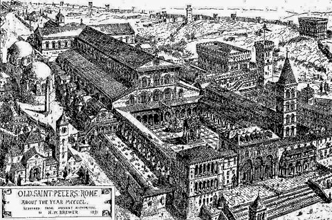 A recreation of the old, medieval St. Peter's as it appeared in the late 15th cetnury (from a 1891 drawing by H.W. Brewer)