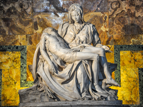 Michelangelo's first Pieta in St. Peter's Basilica, Rome.
