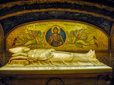 The tomb of Pope Pius XI in the Vatican Crypt below St. Peter's in Rome