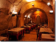 An arcade of Pompey's Theatre forms a basement dining room in Da Pancrazio restaurant.