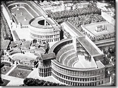 A model of ancient Rome, with the Theatre of Pompey in the foreground.