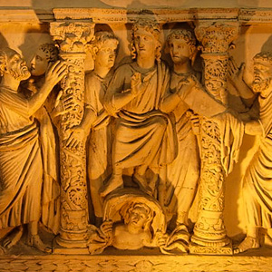 Plaster cast of an early Christian sarcophagus in the Vatican Grottoes, Vatican Pio-Christian Museum, Vatican Museums, Rome, Italy