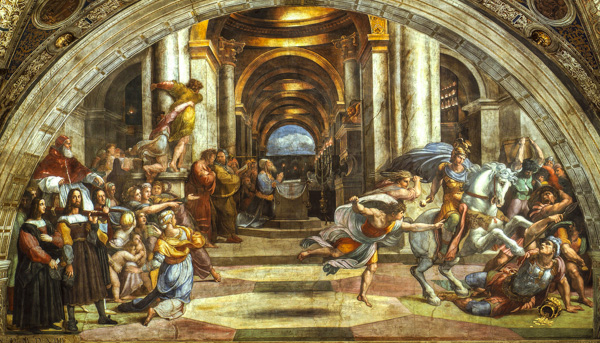 Raphael's Heliodorus Expelled from the Temple in the Stanza di Eliodoro of the Raphael Rooms in the Vatican Museum, Rome