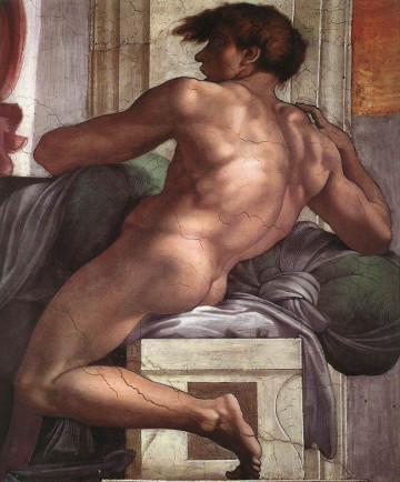 An ignudo on Michaelangelo's Sistine Chapel ceiling