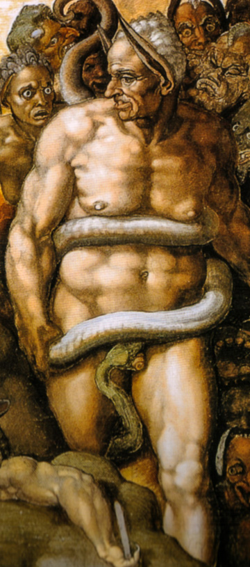 King Midas in Hell in Michelangelo's Last Judgement in the Sistine Chapel.
