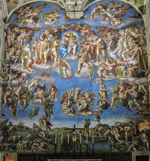 Michelangelo's Last Judgment in the Sistine Chapel.