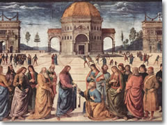 Perugino's Christ Handing the Keys to St.Peter on the Sistine Chapel wall
