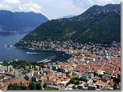 An aerial view of Como on Lago di Como