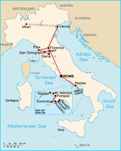 Ultimate italy in one week a workable itinerary map gumiabroncs Choice Image
