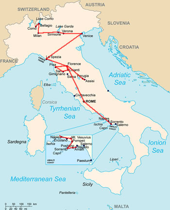 Italy 2-week Ultimate itinerary map