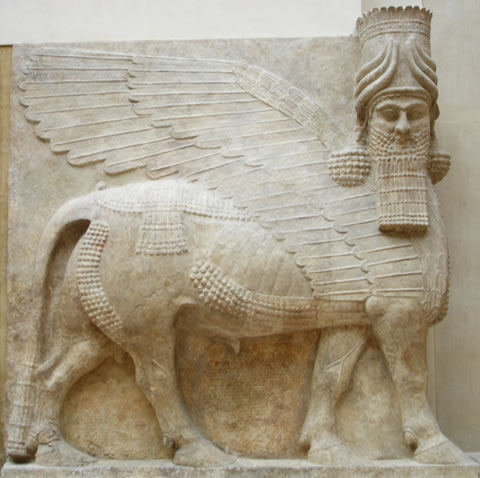 An Assyrian lamassu griffin, now in the Louvre
