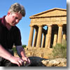 The author hard at work at the ruins of Agrigento, Sicily