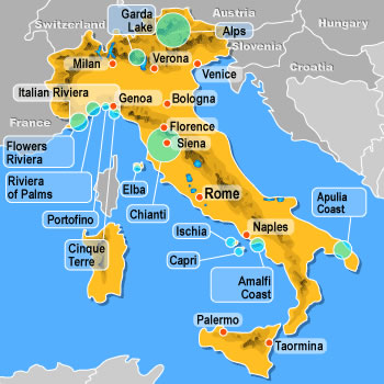 Map of hotels in Italy