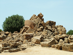 Remains of the Olympieion, of Temple of Olympian Zeus, in Agrigento's Valle dei Templi