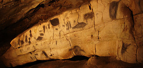 Cave paintings in La Grotta del Genovese on the Egadi island of Levanzo, Sicily