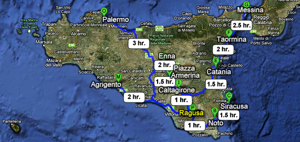 Travel times to get to Ragusa