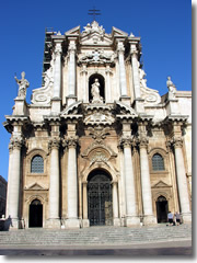 The baroque facade on the Cathedral of Syracuse