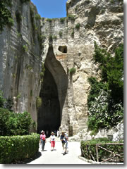 The Orecchio di Dioniso, or Ear of Dionysius, in Siracusa's Archological Park of Neapolis