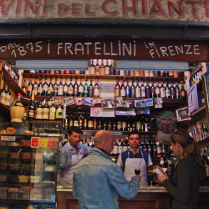 I Fratellini, a sidewalk fiaschetteria selling panini and wine by the glass in Florence