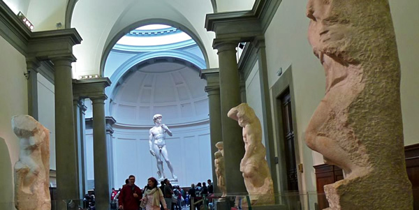 The gallery of nonfiniti Slaves and The David at the Accademia of Florence