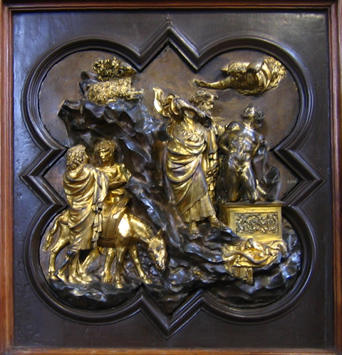 Ghiberti's Sacrifice of Isaac for the 1401 baptistry competition, in the Bargello Museum of Florence