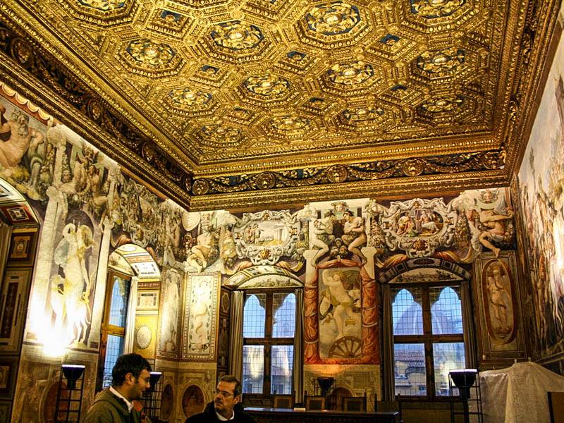 The Sala della Udienza (Audience Hall) in the Palazzo Vecchio, frescoed by Francesco Salviati (1543–45) under a 1470s ceiling, Florence. (Photo by Véronique Debord-Lazaro)
